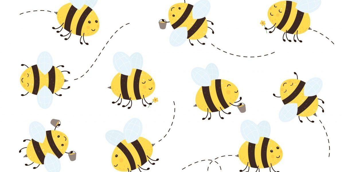 Cartoon,Happy,Bees,Flying,On,White,Background,,Illustration.